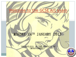 Welcome to the GCSE Art exam