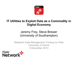 IT Utilities to Exploit Data as a Commodity in Digital Economy