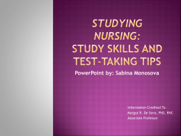 Studying nursing: Study Skills and Test