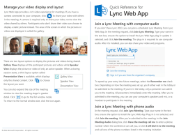 Quick Reference for Lync Web App