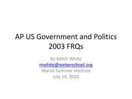 2003 FRQ Questions Mitch White