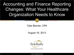 Accounting and Finance Reporting Changes