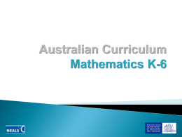 Australian curriculum Mathematics K-6