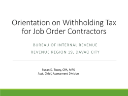 Orientation on Withholding Tax for Job Order Personnel