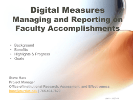 Digital Measures ActivityInsights Project Overview