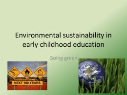Environmental sustainability in early childhood