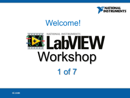 LabVIEW Proficiency Workshop