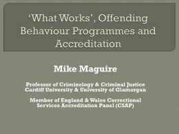 *What Works*, Offending Behaviour Programmes