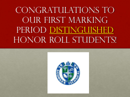 Honor Roll Recognition