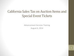 California Sales Tax on Auction and Special Events