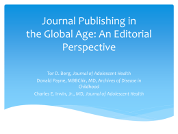 So, You Want to Get Published - Journal of Adolescent Health