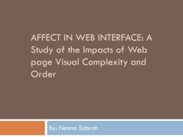 Affect in web interface: A Study of the Impacts of Web page Visual