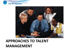 Approaches to talent management