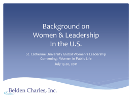 Background on Women & Leadership In the U.S.