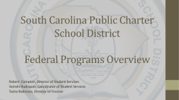 Federal Funding - South Carolina Public Charter School District