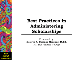 Best Practices in Administering Scholarships