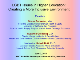 LGBT Issues in Higher Ed: Creating a More