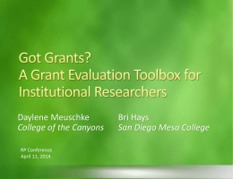 A Grant Evaluation Toolbox for Institutional