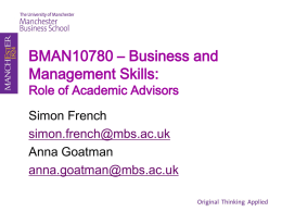 BMAN10780 * Business and Management Skills: Role of Academic