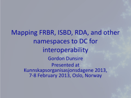 Mapping FRBR, ISBD, RDA, and other