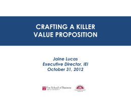 value proposition - Fox School of Business