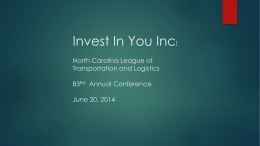 Presentation - North Carolina League of Transportation and Logistics