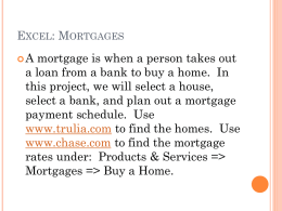 Excel: Mortgages