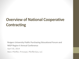 Challenges of National Cooperative Purchasing Contracts