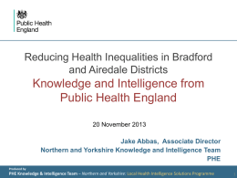 Knowledge and Intelligence from Public Health England