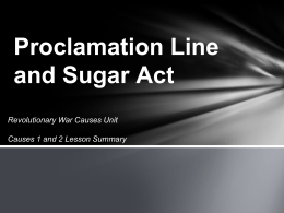 Proclamation Line and Sugar Act