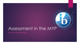 Assessment in the MYP