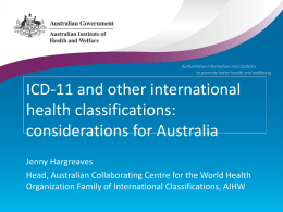 ICD-11 and other international health classification