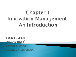 Chapter 1 Innovation Management: An Introduction