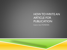 How to write an article for publication