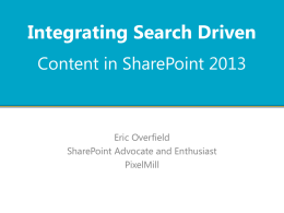 Eric Overfield - SearchDrivenContentinSharePoint2013
