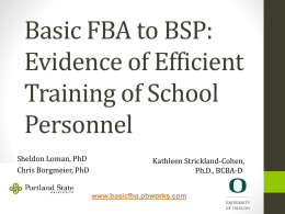 Training School Personnel to Implement FBA/BIP - basicfba