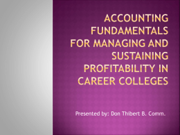 Accounting Fundamentals for Managing and Sustaining Profitability