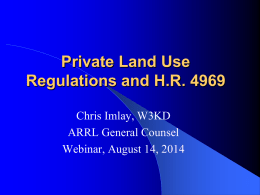 Private Land Use Regulations and HR 4969