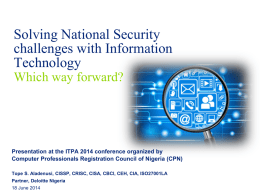solving national security challenges with information technology by