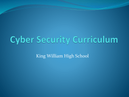 Cyber Security Curriculum - King William County Public Schools
