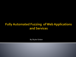 Fuzzing Web Applications and Services