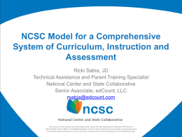 PPT on the NSCS Alternate Assessment