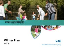 CCG Winter Plan - Walsall Healthcare NHS Trust