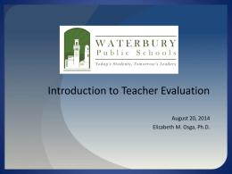 Introduction to Teacher Evaluation