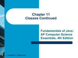 Chapter 11 Classes Continued