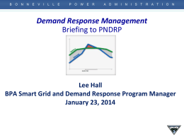 BPA Demand Response Update - Northwest Power & Conservation