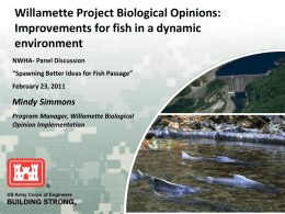Willamette Project Biological Opinions: Improvements for fish in a