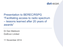 DotEcon presentation BEREC RSPG Joint event