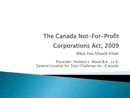 Canada Not-for-Profit Corporations Act, 2009