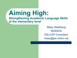 Strengthening Academic Language Skills at the